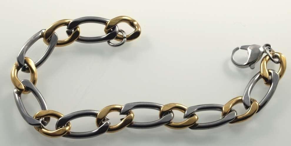 Zlacená chirurgická ocel,náramek FIGARO IV. GOLD. -ocnar307-
