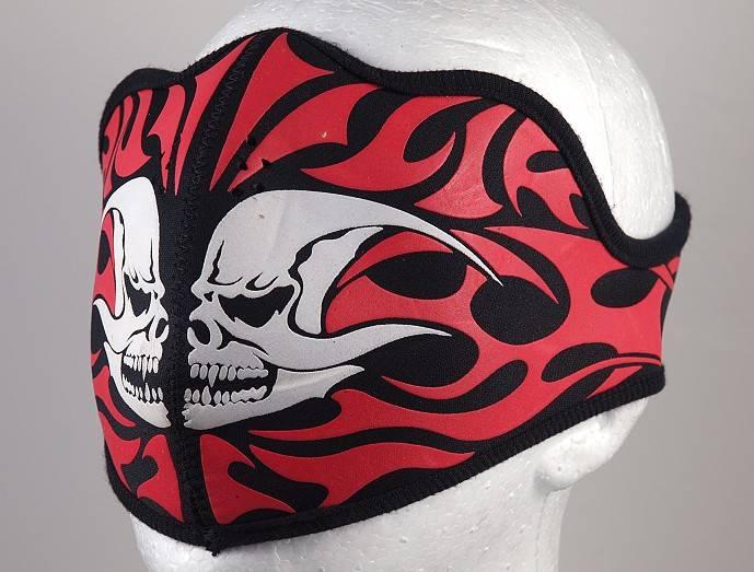 Neoprénová maska-poloviční Dvě lebky červené Tribal