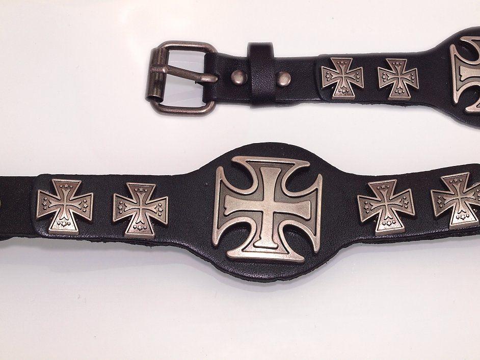 Kožený náramek s Maltézským křížem. KUZ2020