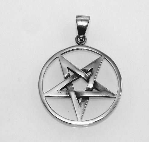Ocelový přívěsek Obrácený pentagram No.07