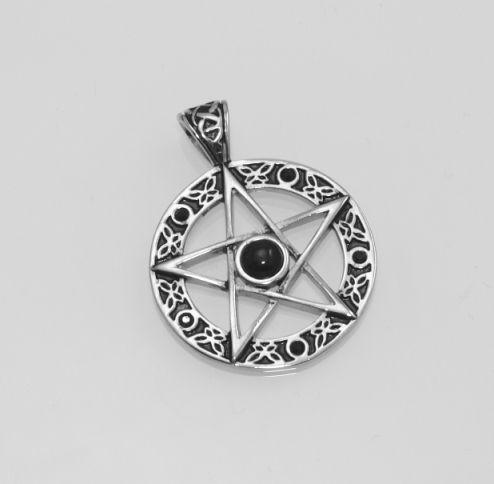 Ocelový přívěsek Pentagram s Černým zirkonem