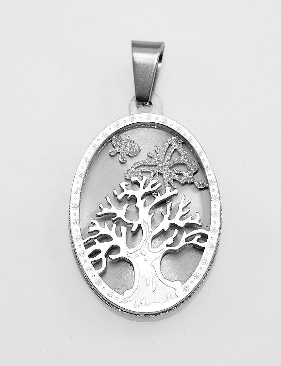 Ocelový přívěsek Strom života IX: