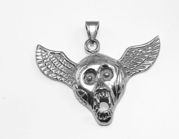 Ocelový přívěsek Lebka s křídly