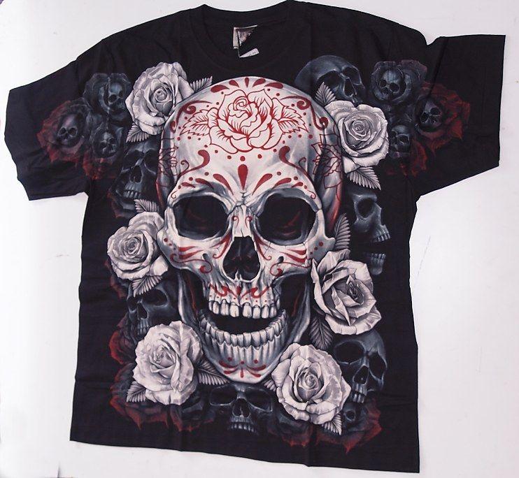 Značkové tričko lebka s růži