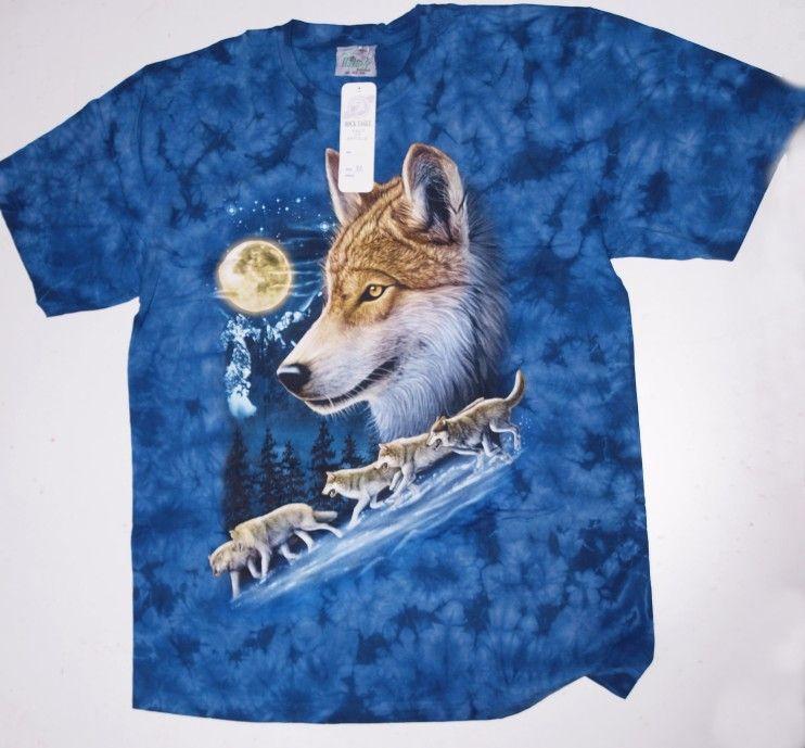 Modré tričko motiv vlčí smečka No.010