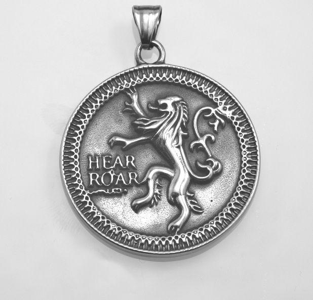 Ocelový přívěsek,medailon Český lev