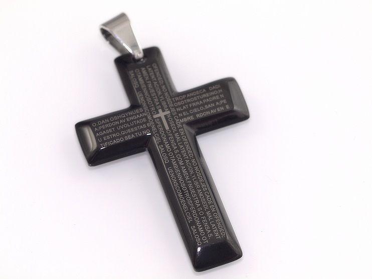 Přívěsek z chirugické oceli Černý kříž