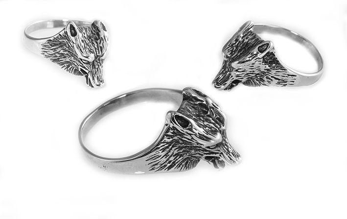 Prsten z chirugické oceli Vlčí hlava