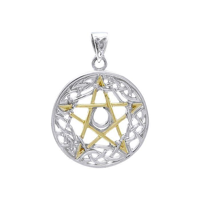Stříbrný přívěsek Pentagram s Keltskými uzly