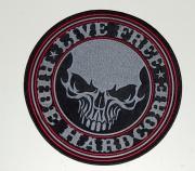 2. Nášivka Live Free HardCor, Šedo Černá