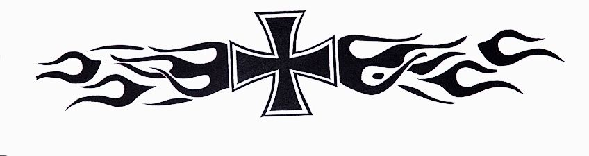 Samolepka Maltézský kříž s plameny