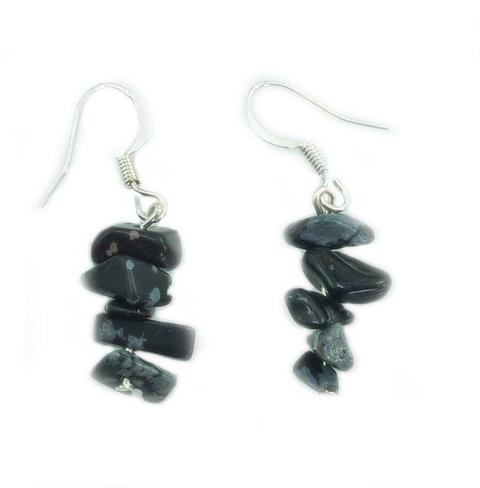 Náušnice z přírodního kamene, Obsidián