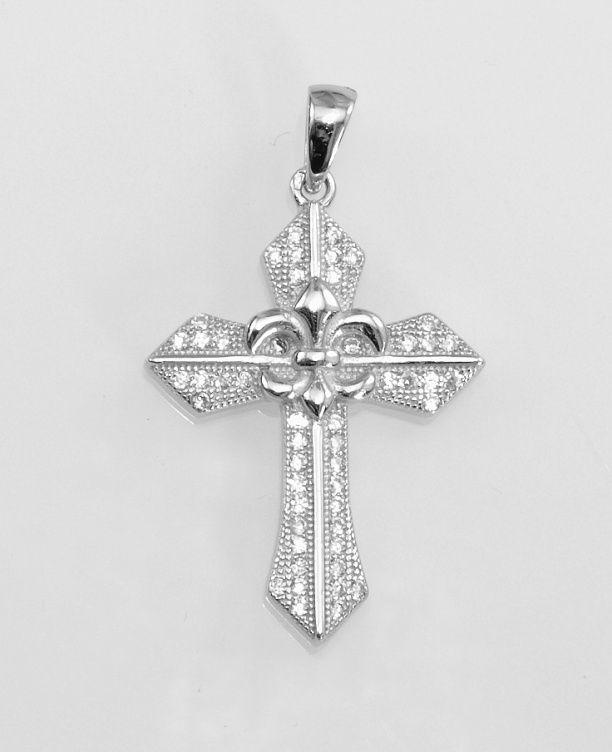 Stříbrný přívěsek Kříž s Lilii
