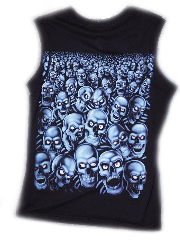 Tričko bez rukávu Modré lebky