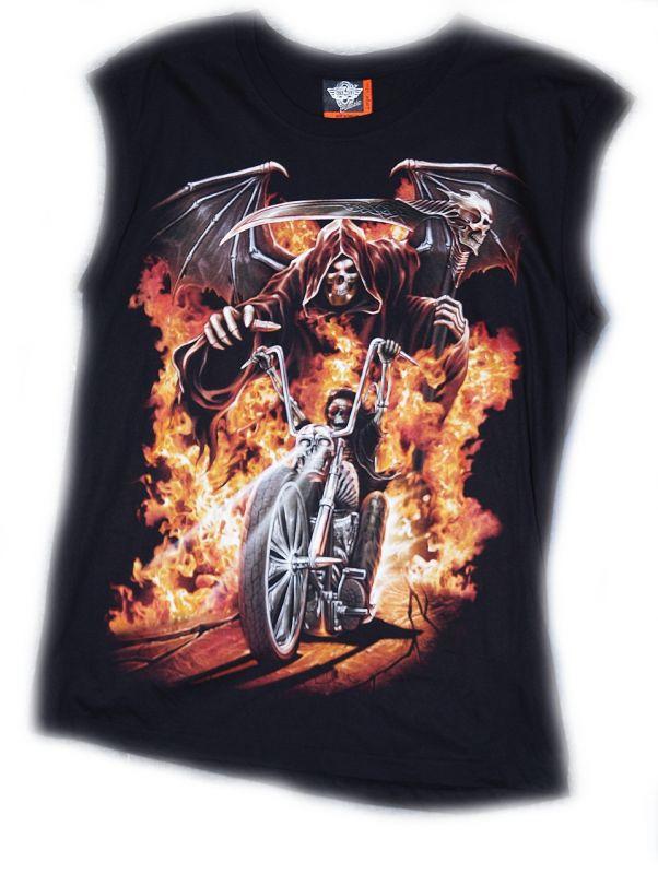 Značkové tričko bez rukávu Pekelná jízda