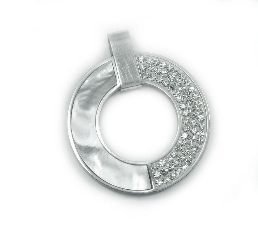 Přívěsek z chirurgické oceli, Perleťový kruh