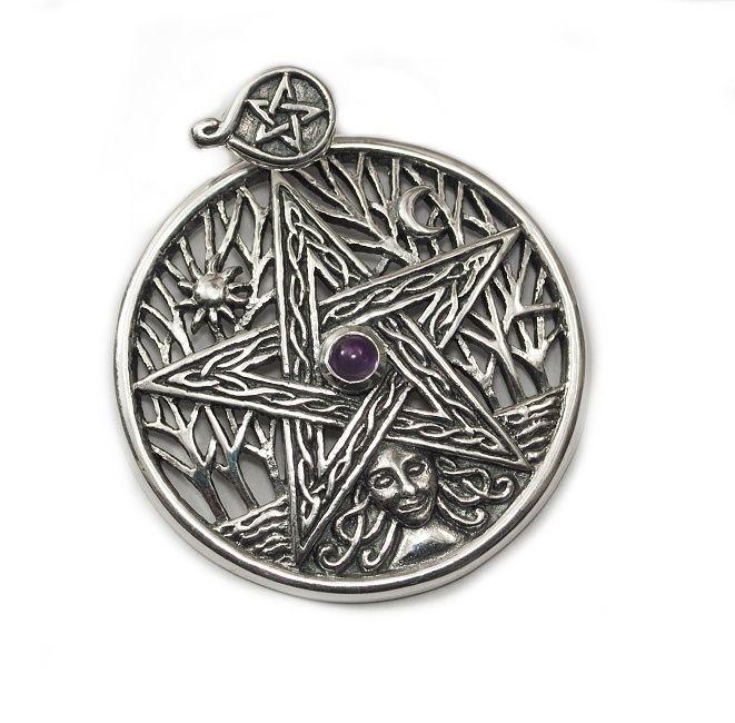 1. Stříbrný přívěsek Pentagram a Strom života TPD120