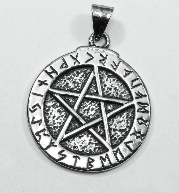 Přívěsek chirurgická ocel, Pentagram 025