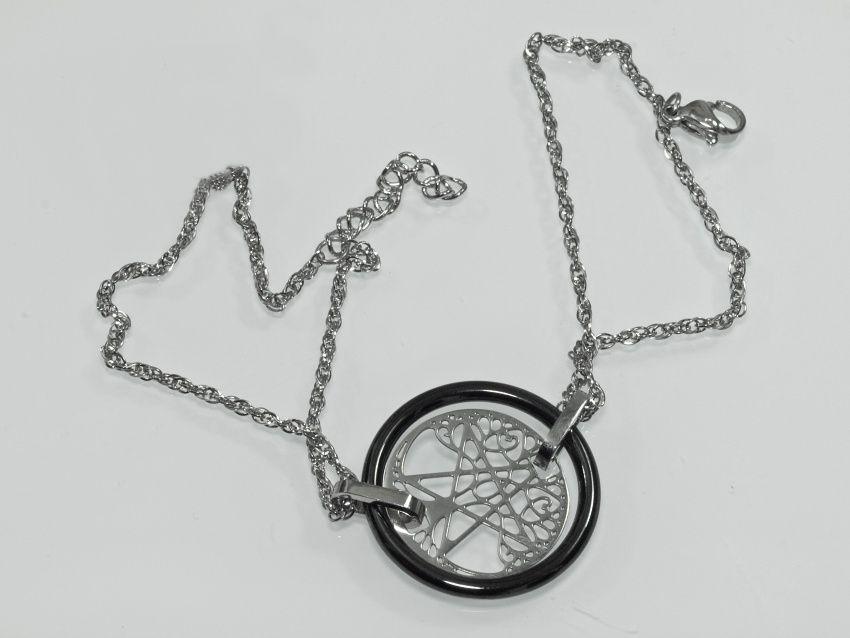 Náramek z chirurgické oceli Strom života s Pentagramem v černé barvě