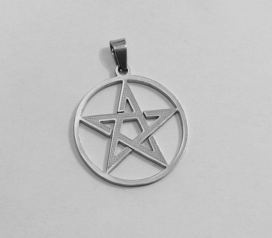 Přívěsek z chirurgické oceli Pentagram No. 03