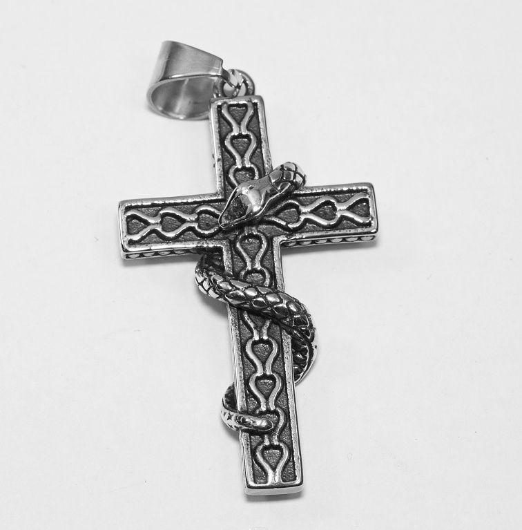 Přívěsek z chirurgické oceli Kříž z hadem