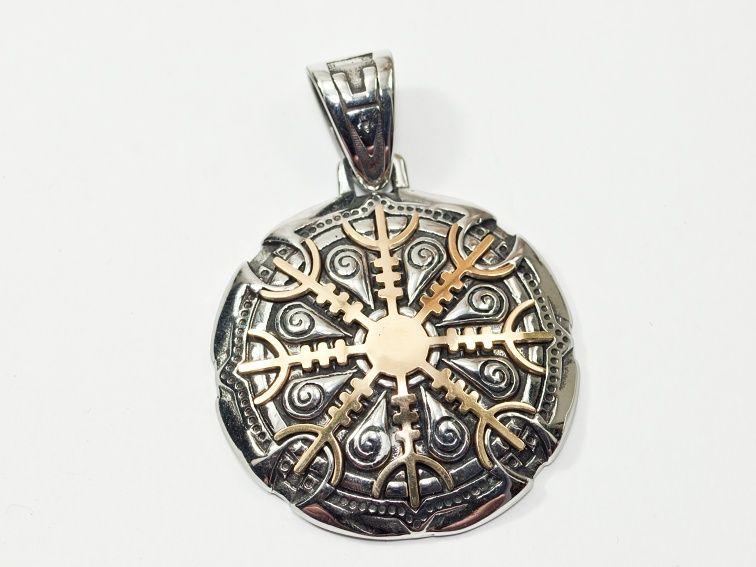 1. Přívěsek z chirurgické oceli zlatá varianta, Islandská runa