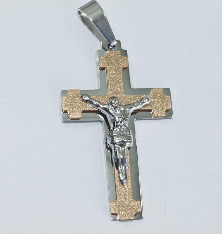 Přívěsek chirurgická ocel Křesťanský kříž no.011