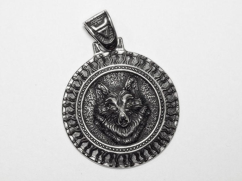 Přívěsek chirurgická ocel Vlčí medailon