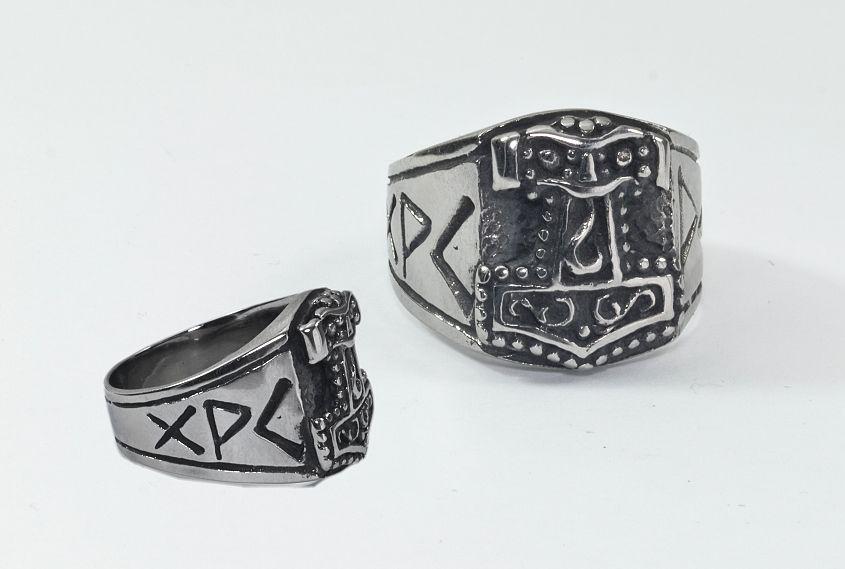 Prsten z chirurgické oceli Thórovo kladivo nr.05