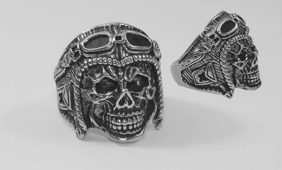 Prsten z chirurgické oceli Lebka chopper 02