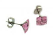 1. Náušnice růžový zirkon, menší varianta