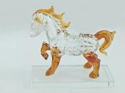 3.1., Skleněná dekorace, figurka koně v hnědé  barvě