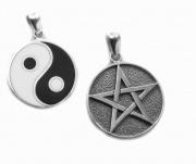 Stříbrný přívěsek Pentagram a Jing Jang