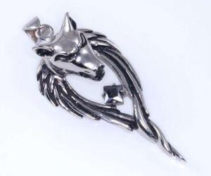 Přívěsek - VLČÍ HLAVA - černý zirkon