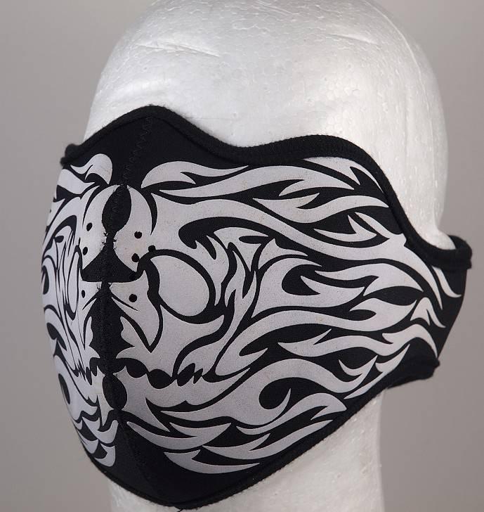 Motorkářská neoprénová maska na obličej s motivem Tribalu Dovoz Thailand