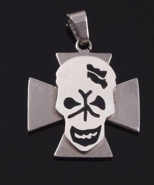 Přívěsek .Chirurgická ocel. Maltézský kříž s lebkou -ocpriv33- SteelArt.