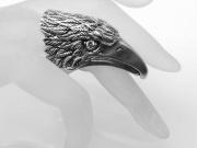 Stříbrný prsten Hlava Orla