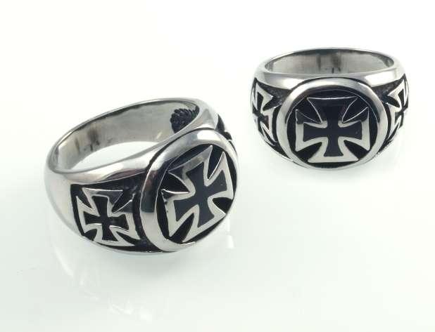 Prsten ocel Válečný kříž No8
