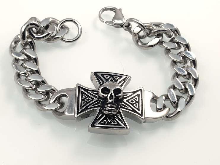 Ocelový náramek Maltézský kříž No4