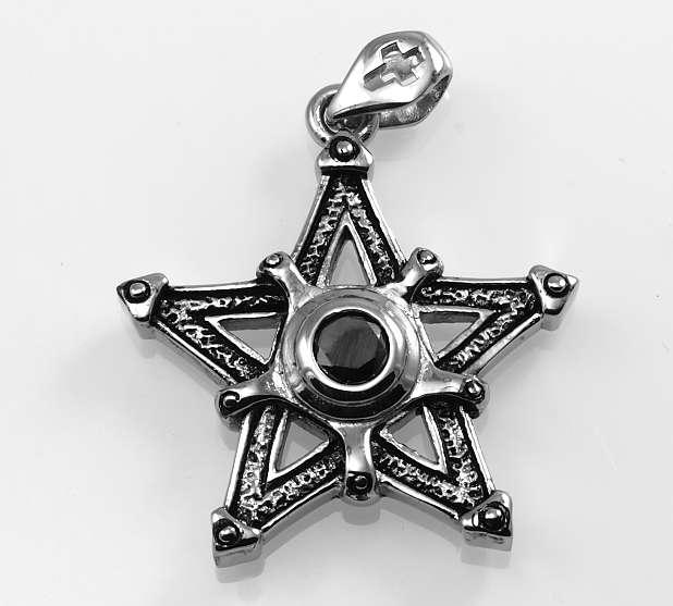 Ocelový přívěsek Pentagram s kamenem