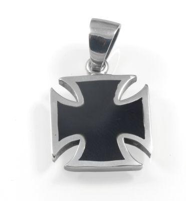 Oblíbený motiv ocelového přívěsků, pro motorkáře Maltézský kříž No.03 SteelArt.
