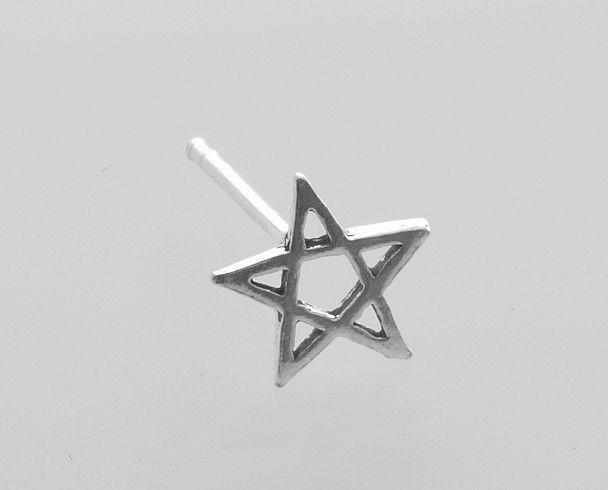 Atříbrná náušnice Pentagram
