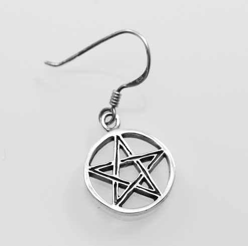 Stříbrná náušnice Pentagram No.1