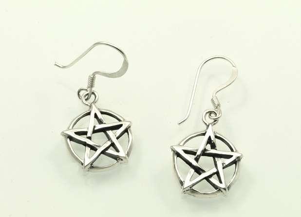 Stříbrní náušnice Pentagram,   070162002