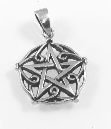Stříbrný přívěsek, magický talisman Pentagram Brisingamen.