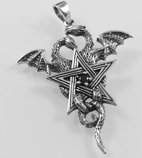 Stříbrný přívěsek Pentagram s drakem.