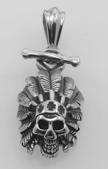 Ocelový přívěsek, Lebka Indiana. OCPRIV220101