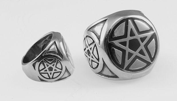Ocelový prsten, Pentagram.  OCPRST21007