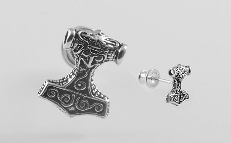 Stříbrná náušnice Thorovo kladivo