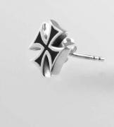 Stříbrná náušnice -  Maltézský kříž No.01